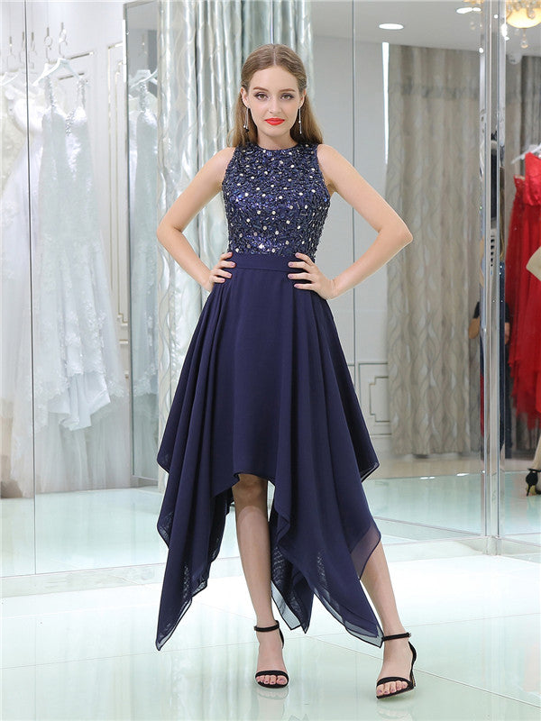 Round Neck Sleeveless Beading Top Chiffon Homecoming Dresses, HD0494
