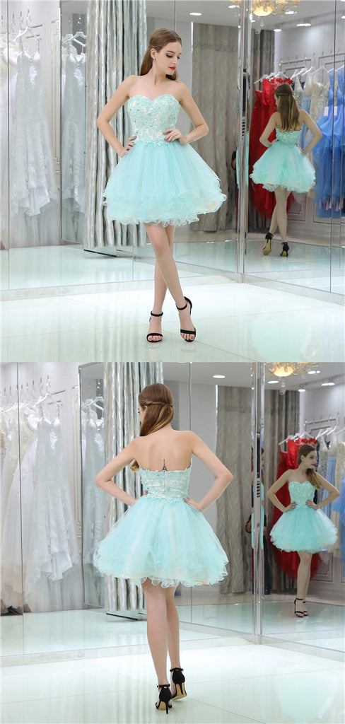 Sweetheart Lace Appliques Beading Short Tulle Homecoming Dresses, HD0498