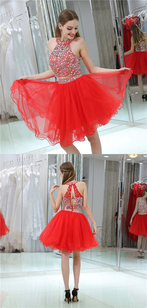 Halter Two-pieces Beading Top Open-back Homecoming Dresses, HD0499