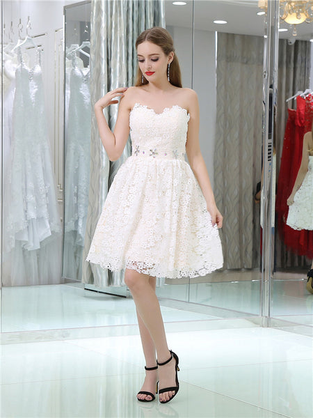 Sweetheart Heart Ivory Lace  Homecoming Dresses With Rhinestone, HD0500