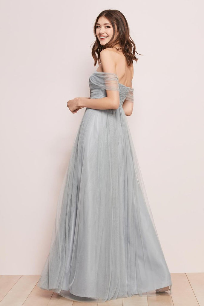 A-line Off-shoulder Floor-length Tulle Bridesmaid Dresses With Pleats, BD0586