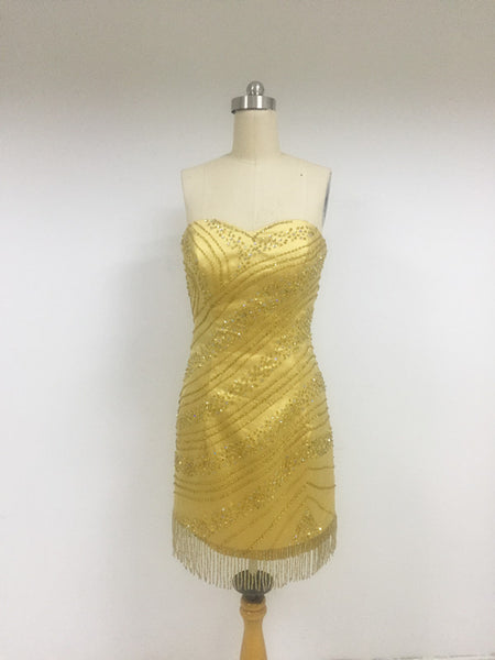 Discount Sweetheart Beading Gold Homecoming Dresses, DD0108