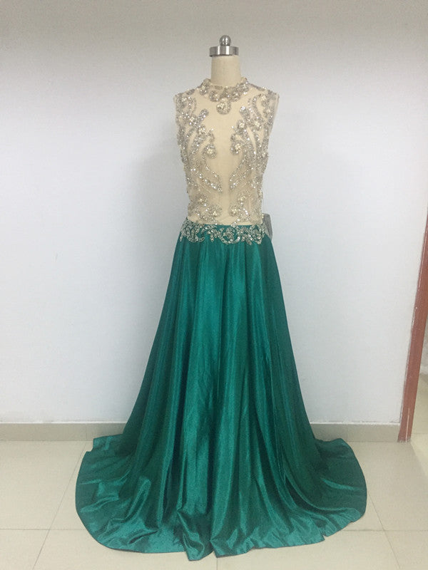 Discount A-line Round Neck Beading Prom Dresses, DD0109