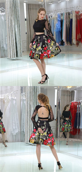 Two-pieces Long Lace Sleeves Embroidery Backless Homecoming Dresses, HD0501