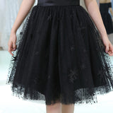 Off-shoulder Short Sleeves Black Tulle Appliques Homecoming Dresses, HD0502