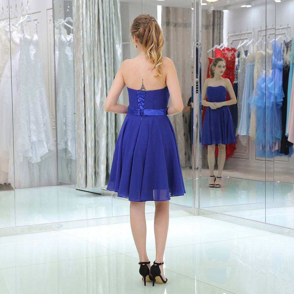 Strapless Sweetheart Simple Blue Chiffon Homecoming Dresses, HD0504