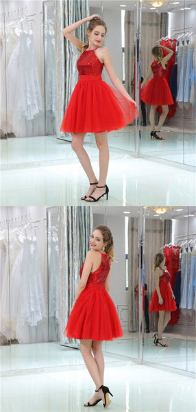 Hot Halter Sequins Top Short Red Tulle Homecoming Dresses, HD0505