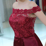 Off-shoulder Lace Top Short Burgundy Homecoming Dresses, HD0506