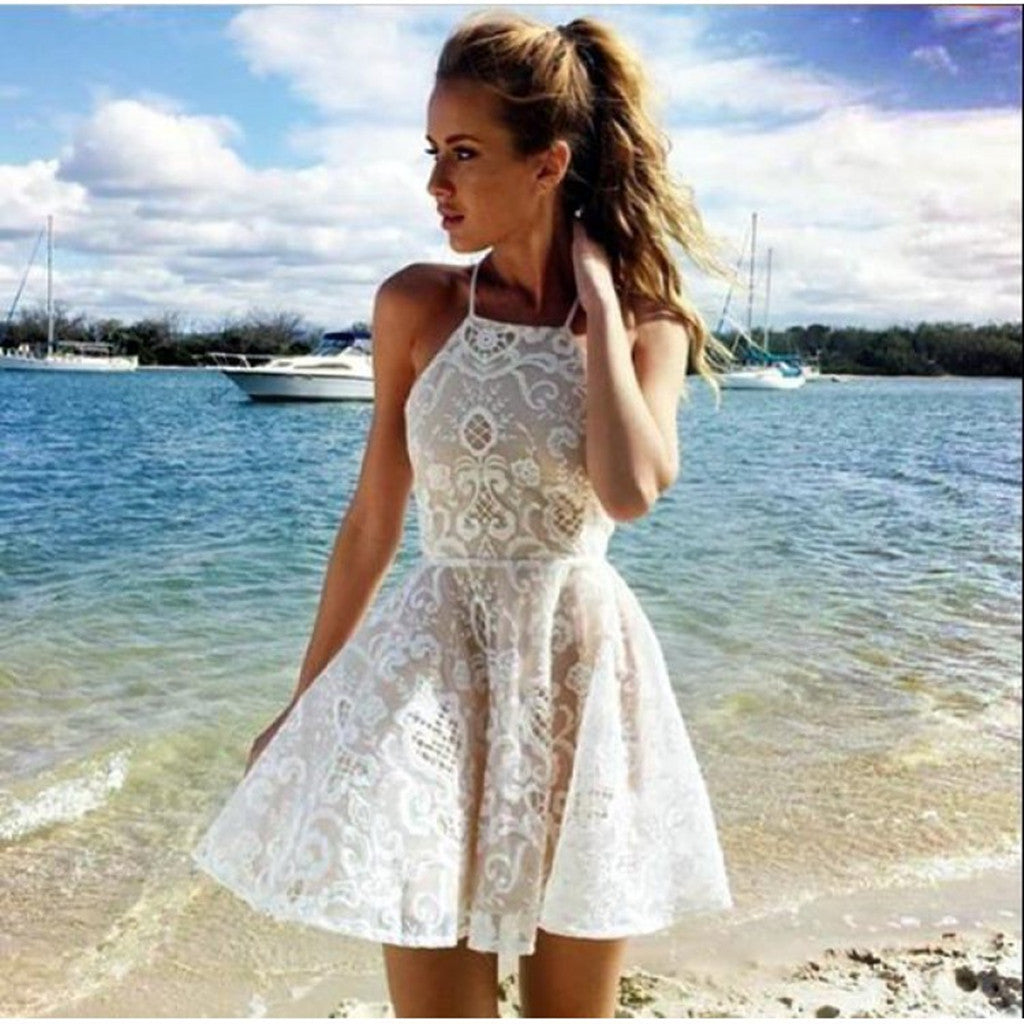 A-line Halter Lace Ivory Short Prom Dress Party Dress simple popular ...