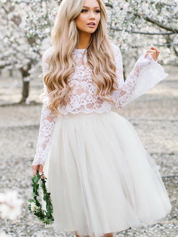 Two-pieces Lace Long Sleeves Short Tulle Homecoming Dresses, HD0511