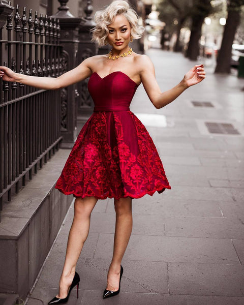 Sweetheart Strapless Lace Appliques Burgundy Homecoming Dresses, HD0509