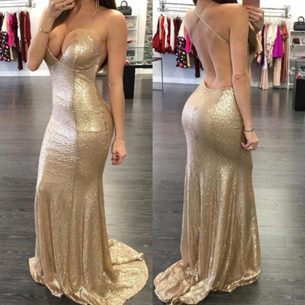 Hot selling Gold sequins Spaghetti Strap Sexy Deep V-neck Backless evening dresses, popular prom dresses,  PD0536