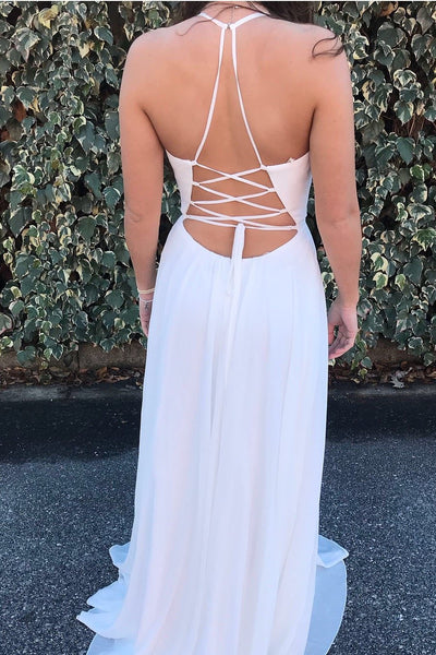 A-line Spaghetti Straps V-neck Lace Up Back Embroidery Prom Dresses,  PD0149