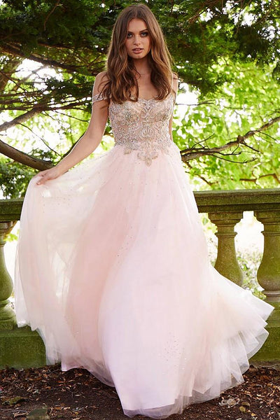 Popular A-line Floor-length off the shoulder beading tulle Sweet princess dress, long prom dresses, PD0110