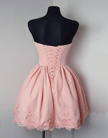 Elegant Cute Sweetheart Pink Appliques Party Dresses, Short Homecoming Dresses, HD0366