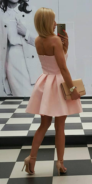 Sweetheart Simple Pink Party Dresses, Cheap Short Mini Homecoming Dresses, HD0370