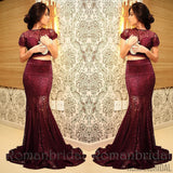 2018 Charming Maroon Two Pieces Prom Dresses Short Sleeves Sheer Lace Sexy Burgundy Mermaid Evening Gowns, Prom Dresses, PD0482