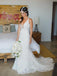 Mermaid V-neck Full Lace Wedding Dresses With Train, WD0443