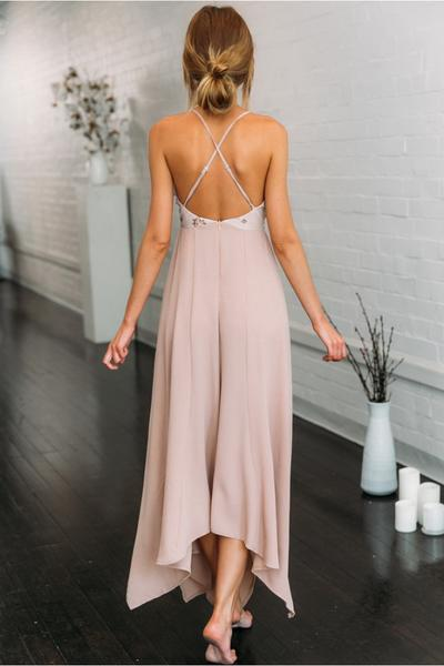 Spaghetti Strap Sexy Deep V Neck Sequins Top Irregular Chiffon Bridesmaid Dress , BD0517