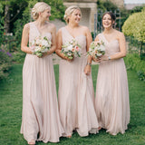 Floor-length One-shoulder sleeveless Chiffon Simple Bridesmaid Dresses with Pleats, BD0513