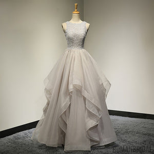 New Arrival A-line Floor-length scoop beading organza evening gowns, long prom dresses, PD0513