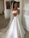 Simple Off-shoulder Ivory Long Stain Wedding Dresses, WD0445