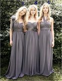 Grey Floor-length Breast wrapped beach style country style chiffon Bridesmaid Dresses , BD0420