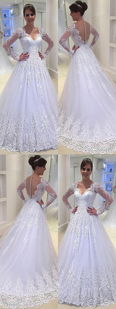 Popular Elegant V-neck Long Sleeves Lace Appliques Wedding Dresses, WD0421
