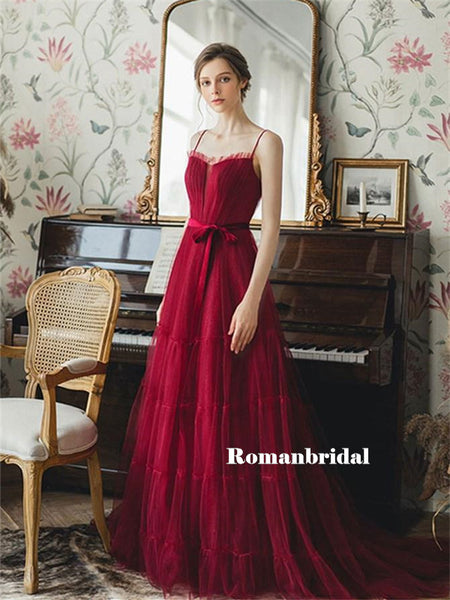 A-line Spaghetti Straps Strapless Long Burgundy Tulle Prom Dresses, PD0801