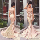 2018 Sexy Mermaid Applique Evening Gown Sleeveless Zipper Sweep Trian Prom Dress, PD0476