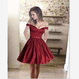 2018 Off the shoulder Short lovely Dark Burgundy Homecoming Dress, HD0306