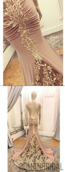 2018 Charming hot selling evening dresses With Trailing, Pleats back Appliques Cap Sleeve long Prom Dresses, PD0458