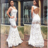 Hot selling newest elegant Floor-length white lace evening dresses, open-back sexy formal dresses, Long Prom Dresses, PD0463