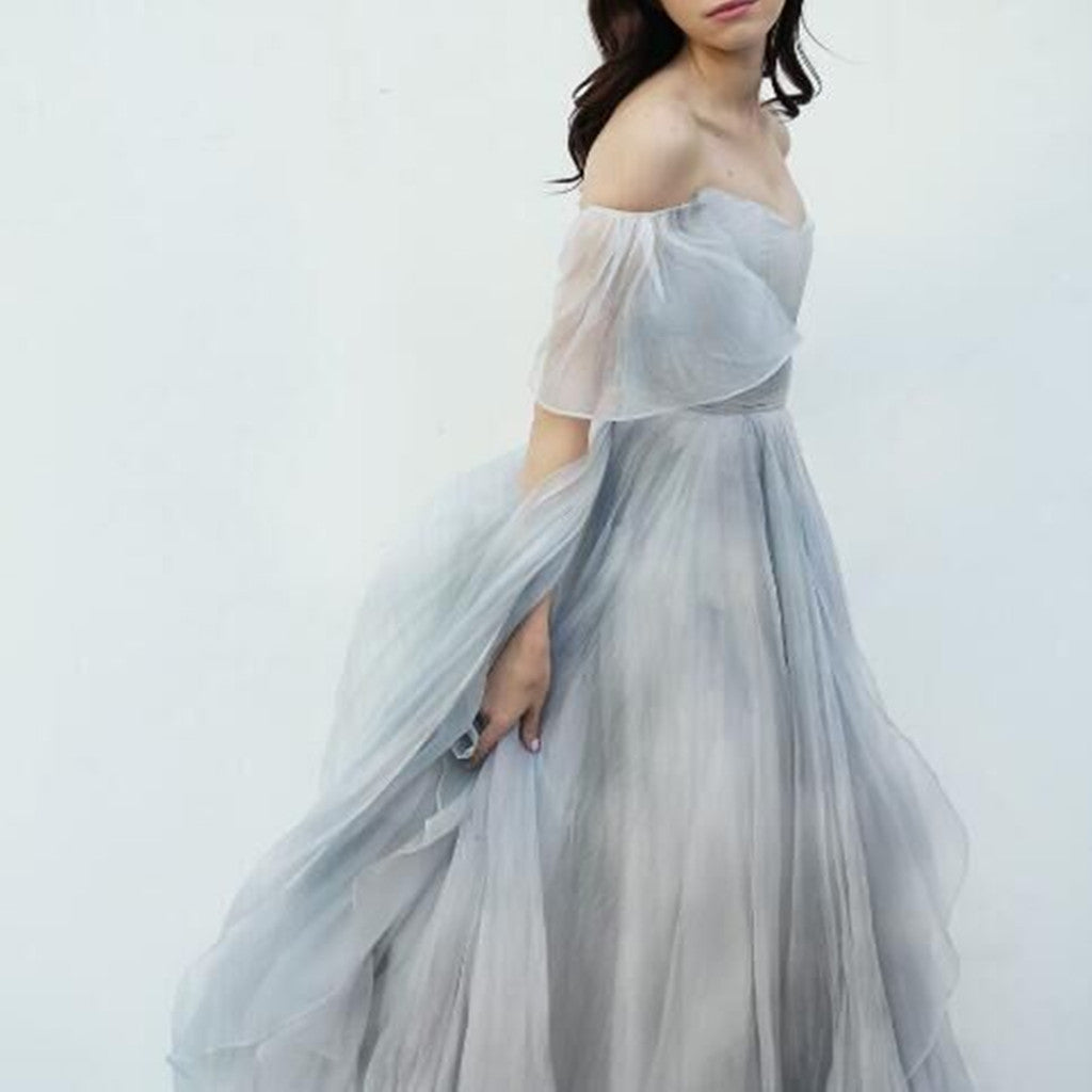 2018 Newest Floor-length Off-shoulder chiffon cheap popular long prom dresses, PD0533