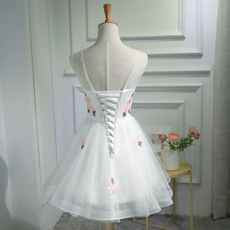 Elegant Round Neck Sleeveless Lace up back Embroidery Junior Homecoming Dresses, HD0391