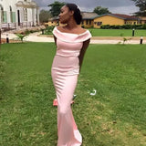 New Fashion Off-shoulder Pink Cheap Mermaid Simple Bridesmaid Dresses, BD0454