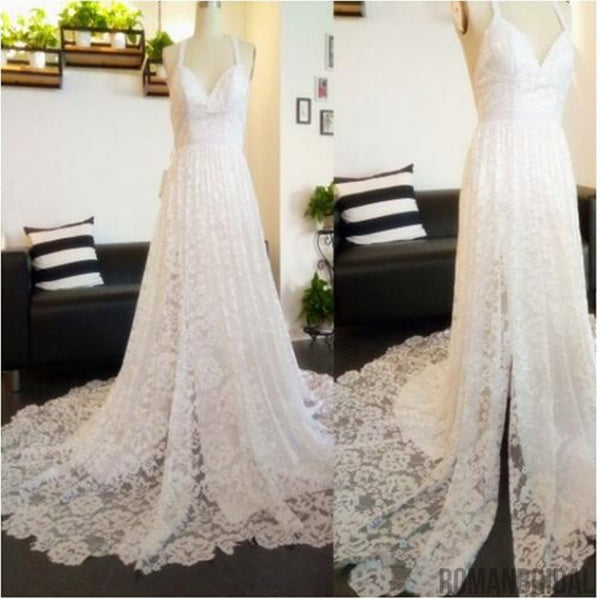 2018 Charming Lace Long A-line Fashion Spaghetti Straps Wedding Dress, New Unique Design Bridals Dresses,  PD0309