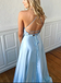 A-Line Blue Floor-length Lace Up Back Halter Prom Dress PD0712
