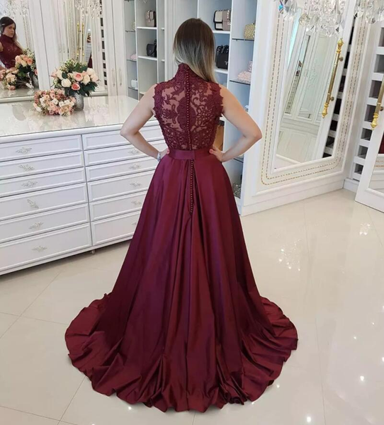 High Neck Lace Top Sleeveless Burgundy Beading Prom Dress, PD0718