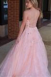 A-line Straps Pink Tulle Appliques Lace Up Back Prom Dress, PD0719