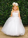 A-line Round Neck Sleeveless Lace Appliques Flower Girl Dresses, FG0143