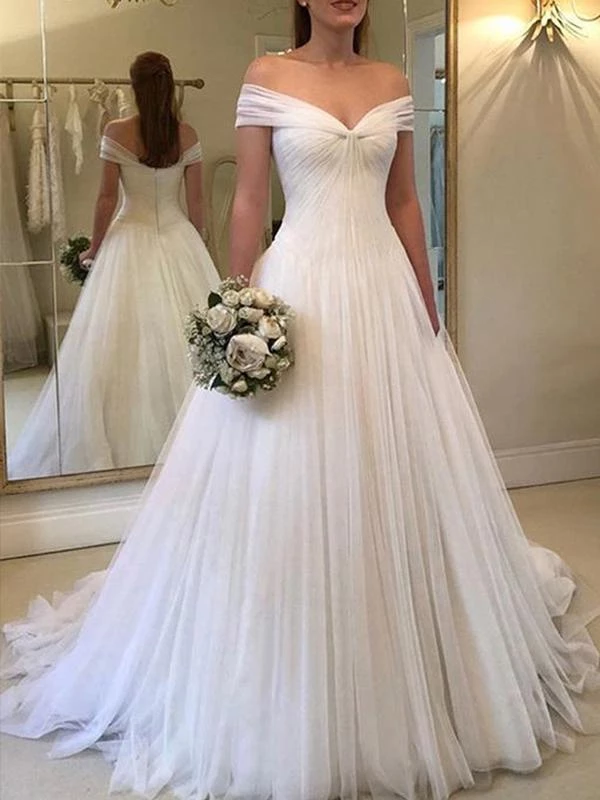A-line Off-shoulder Zipper Back Simple Cheap Long Tulle Wedding Dresses, WD0471