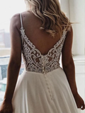 A-line Spaghetti Straps V-neck Lace Back Long Simple Wedding Dresses, WD0472