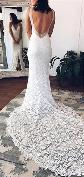 Mermaid Deep V-neck Fulle Lace Sexy Backless Wedding Dresses With Train, WD0477