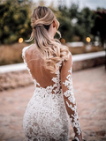Sheath Long Sleeves Fulle Lace Backless See-though Wedding Dresses, WD0478