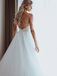 A-line Spaghetti Straps V-neck Lace Top Backless Long Tulle Wedding Dresses, WD0480