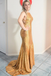 Mermaid Halter Straps Backless Long Gold Sequins Prom Dresses, PD0779