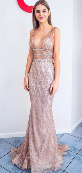 Soarkly Mermaid Deep V-neck Sexy See-though Long Prom Dresses, PD0780