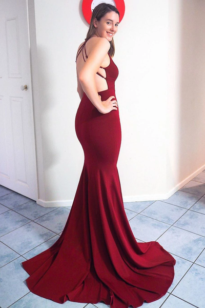 Mermaid V-neck Backless Long Burgundy Prom Dresses With Split, PD0782