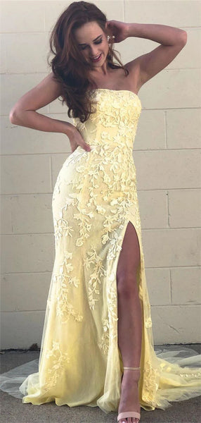 Strapless Mermaid Lace Appliques Yellow Prom Dresses With Splits, PD0783